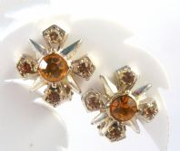 Vintage Amber Rhinestone Maltese Cross Style Clip On Earrings.